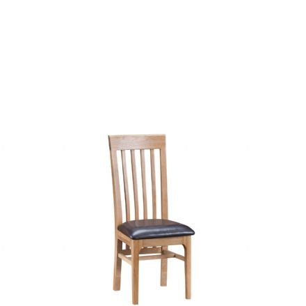 Newhaven Oak Slat Back Chair PU Seat